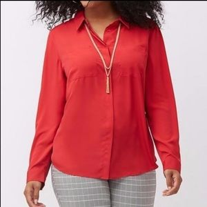 🌷 Lane Bryant Red Long Sleeve Button Down 14-16🌷